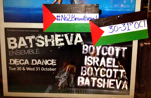 Someone protested Edinburgh Festival Theatre's promotion of Batsheva and Brand Israel