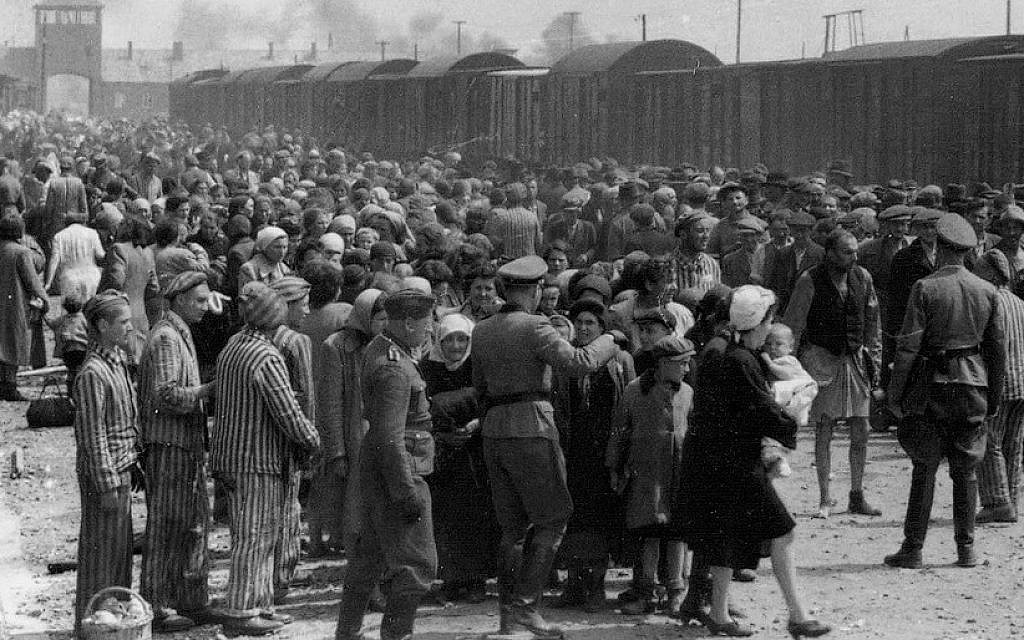 Hungarian Jews arriving at Auschwitz