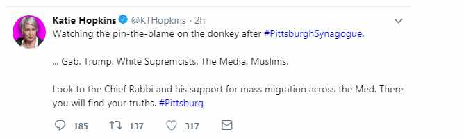 Katie Hopkins antisemitic Pittsburgh tweet