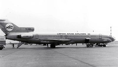 The Lybian Airlines Boeing 727 that was later shot down by Israeli fighter jets