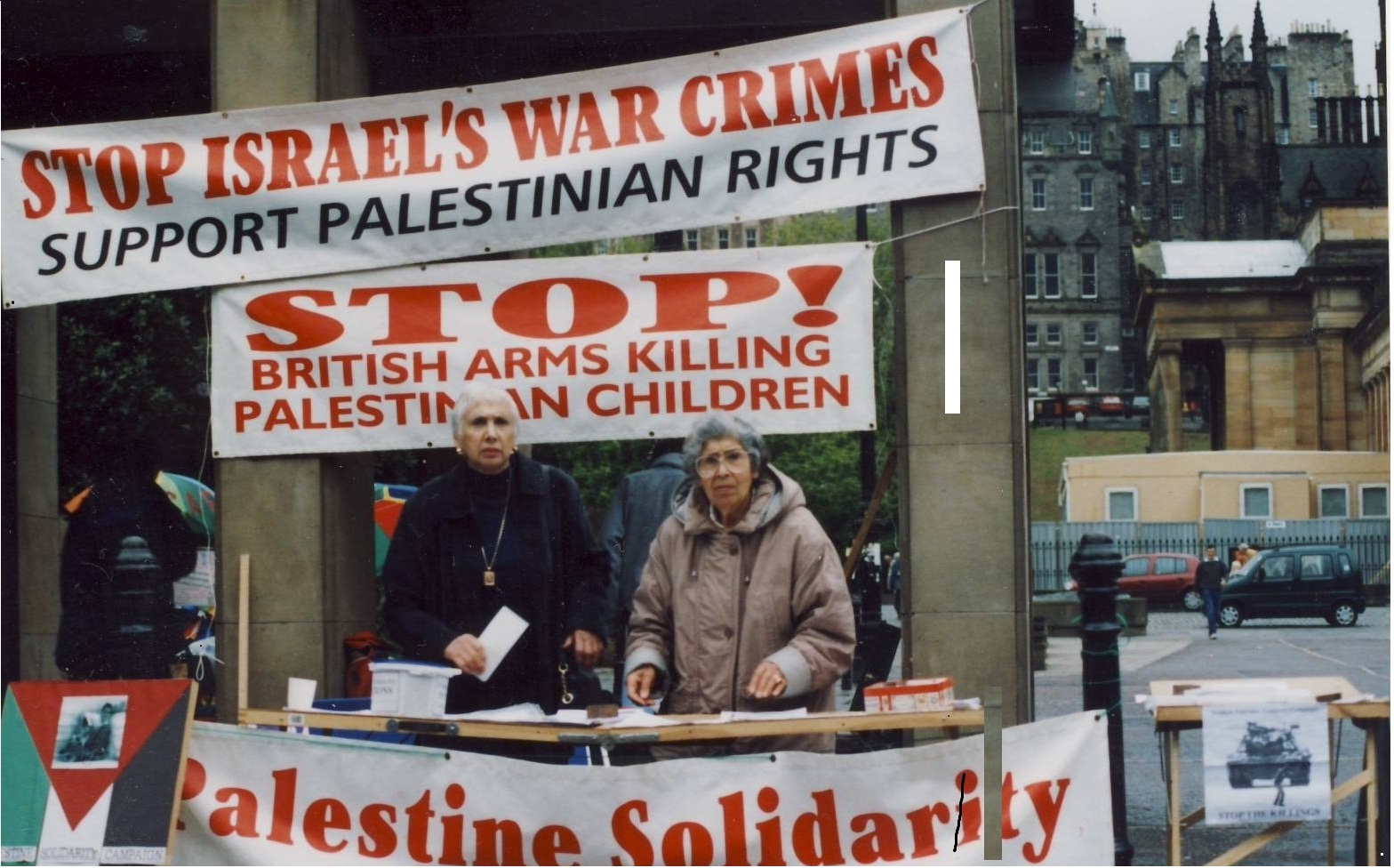 Palestinian-Jewish solidarity: Marion Woolfson (78) and Nasra Affara (82) on an SPSC publicity stall, Princes St, Edinburgh in 2001