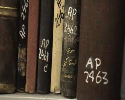 Looted Palestinian books, labelled 'absentee property'