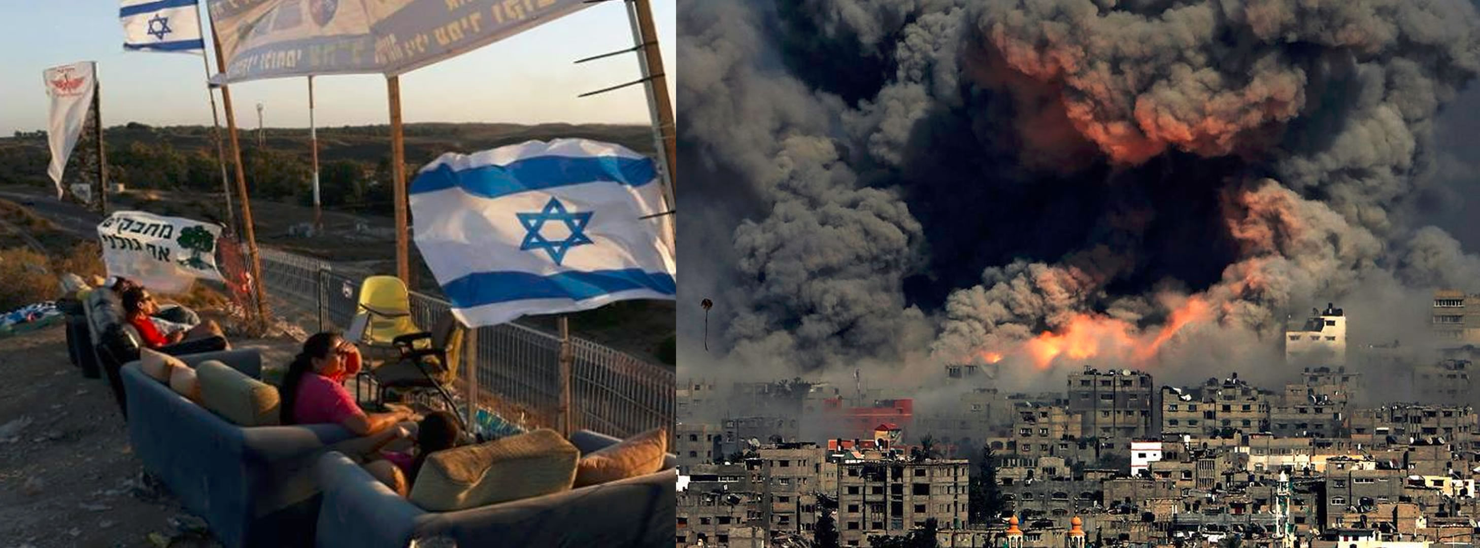 Israelis relax (L) and watch massacres in Gaza (R)