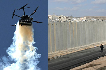 tear-gas drone and wall near Rafah
