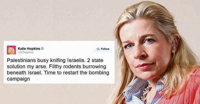 katie hopkins Palestinians filthy rodents