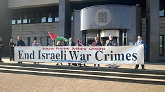 SPSC Banner Stop Israeli War Crimes at Glasgow Sheriff Court