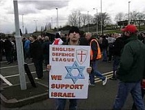 Despite Shamir's entreaties, the thugs of the EDL and BNP still attracted to Israel's record of killing Palestinians