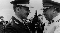 Argentine dictator Jorge Rafael Videla greets fellow South American strongman Augusto Pinochet